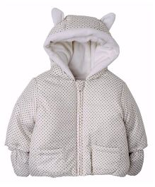 Mothercare Full Sleeves Hooded Coat Dots Print - White