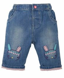 Mothercare Full Length Jeans Bunny Embroidery - Blue