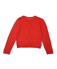 Mothercare Full Sleeves Cropped Pointelle Cardigan - Red