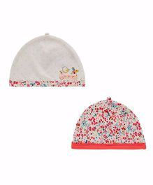 Mothercare Floral Printed Bonnet Caps Pack of 2 - White Multi Colour