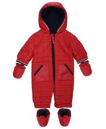 Mothercare Full Sleeves Quilted Snowsuit With Mittens - Red