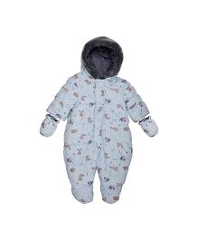 Mothercare Full Sleeves Snowsuit With Mittens - Light Blue