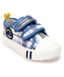 Cute Walk by Babyhug Check Canvas Shoes - Blue White