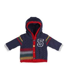 Mothercare Full Sleeves Knitted Cardigan 5 Design - Navy Blue