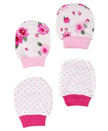 Mothercare Floral Printed Mittens Pack of 2 - Pink White