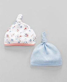 Mothercare Floral Printed Bonnet Caps Pack of 2 - Blue White