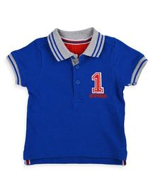 Mothercare Half Sleeves Polo T-Shirt Number 1 Patch - Blue