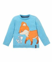 Mothercare Full Sleeves T-Shirt Fox Print - Turquoise Blue