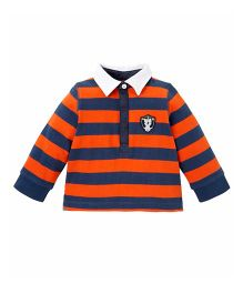 Mothercare Striped Rugby T-Shirt - Orange & Navy Blue
