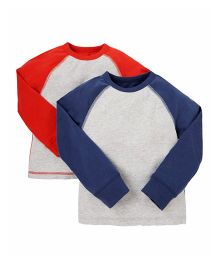 Mothercare Raglan Sleeves T-Shirt Pack Of 2 - Blue & Red