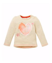Mothercare Full Sleeves T-Shirt Heart Print - Light Yellow