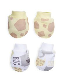 Mothercare Mittens Giraffe Print Pack of 2 - Yellow White