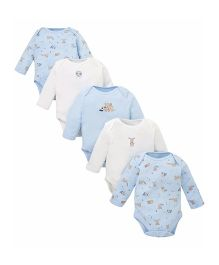 Mothercare Full Sleeves Onesies Animal Print Pack of 5 - White & Blue