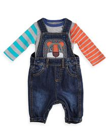 Mothercare Sleeveless Dungaree Romper With Onesie - Blue Grey
