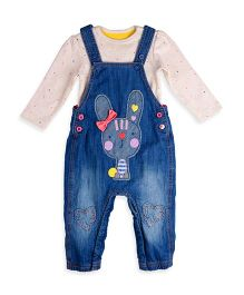 Mothercare Dungaree With Onesie Bunny Patch - Blue
