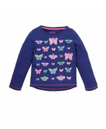 Mothercare Full Sleeves Top Butterfly Print - Navy Blue