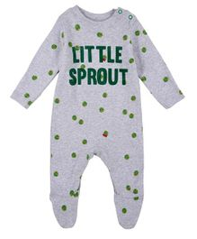 Mothercare Full Sleeves Footed Sleep Suit - Grey