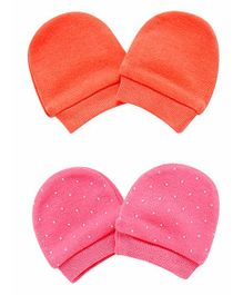 Mothercare Polka Dots Printed Mittens Pack of 2 - Orange Pink