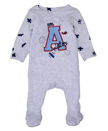 Mothercare Full Sleeves Footed Embroidered Sleep Suit - Grey