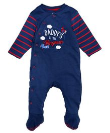 Mothercare Full Sleeves Footed Sleep Suit Airplane Embroidery - Navy Blue