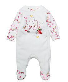 Mothercare Full Sleeves Footed Sleep Suit Floral Embroidery - White