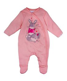Mothercare Full Sleeves Footed Sleep Suit Bunny Print - Pink