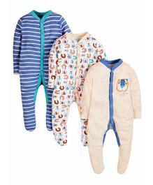 Mothercare Full Sleeves Footed Sleep Suit Pack of 3 - Blue Cream