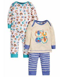 Mothercare Full Sleeves T-shirt & Lounge Pant Set Bear Print Pack of 2 - Off White Blue White