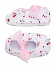 Mothercare Booties Floral Print - White