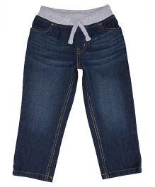 Mothercare Full Length Ribwaist Jeans With Drawstring - Blue