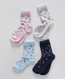 Mothercare Ankle Length Socks Floral Design Pack of 4 - Multi Colour
