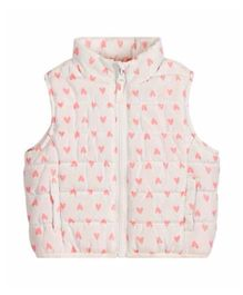 Mothercare Sleeveless Padded Jacket Heart Print - White