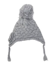 Motheracre Knitted Cap Flower Applique - Grey