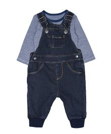 Mothercare Full Sleeves Onesie With Dungaree - Blue