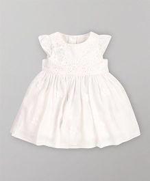 Mothercare Cap Sleeves Partywear Dress With Floral Corsage - White