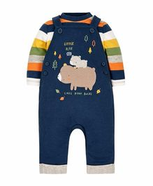 Mothercare Dungaree With Onesie Piggy Patch - Navy Blue