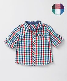 Mothercare Full Sleeves Check Roll Up Shirt - Multi Color
