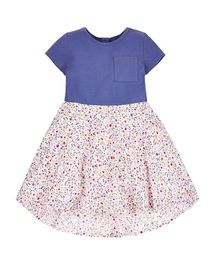 Mothercare Short Sleeves Floral Print Frock With Pocket - Blue & Multi Color