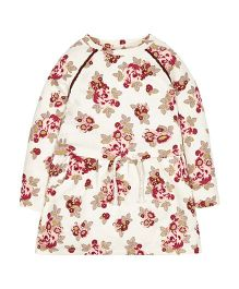Mothercare Full Sleeves Floral Print Dress - Cream