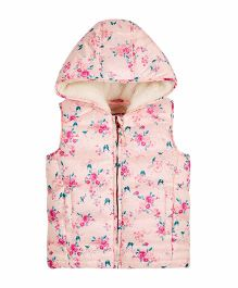 Mothercare Sleeveless Floral Borg Lined Hooded Jacket - Light Pink
