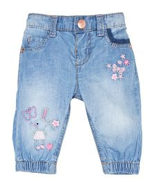 Mothercare Full Length Jogger Style Embroidered Jeans - Blue
