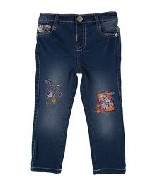 Mothercare Full Length Washed Jeans With Embroidery - Blue