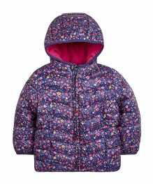 Mothercare Full Sleeves Padded Jacket With Hood - Navy Blue