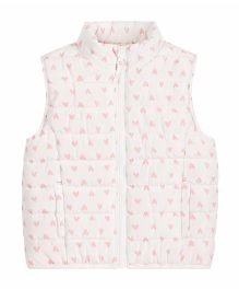 Mothercare Sleeveless Padded Jacket Heart Print - White & Pink
