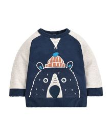 Mothercare Full Sleeves Sweatshirt Bear Design - Blue