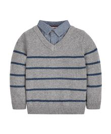 Mothercare Full Sleeves Sweater Striped Design - Grey