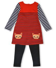 Mothercare Cat Dress and Leggings Set - Orange Black