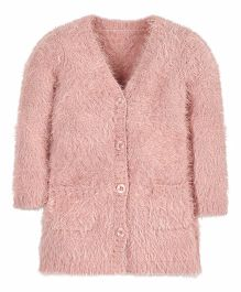 Mothercare Full Sleeves Fluffy Cardigan - Pink