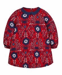 Mothercare Full Sleeves Woven Peter Collar Dress - Red & Blue
