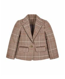 Mothercare Full Sleeves Tweed Check Blazer - Brown
